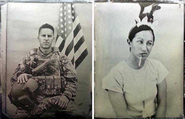 Fig. 1 Two photographs from U.S. aerial gunner Ed Drew, taken in Afghanistan in 2013 using the same wet-plate collodion process used during the American Civil War.