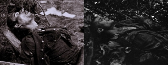 Fig. 3. A Union soldier lies dead at Cold Harbor, Virginia (left) in 1864, and a G.I. convulses in death throes in a Vietnamese forest in In the Year of the Pig (1968) (right).