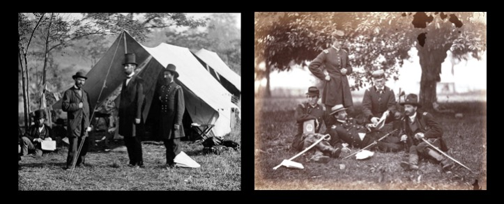 "Photographs of Abraham Lincoln and military officers ""Studying the Art of War"""