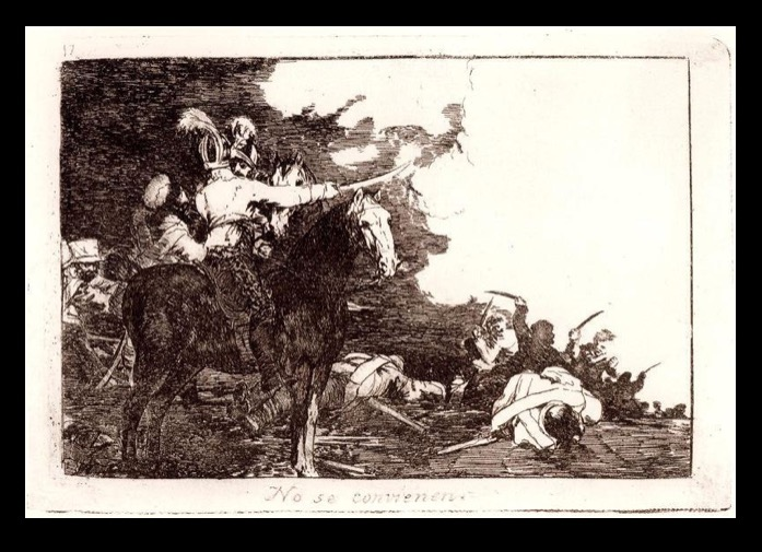 "Francisco Goya, ""No se convienen"" (""They do not agree""); ""Desastres de la guerra"" (""The Disasters of War""), plate 17, 1810."