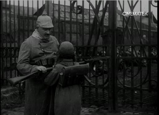 Pict. 10. German soldier threatening Yvonne, La tragédie de Marchienne.