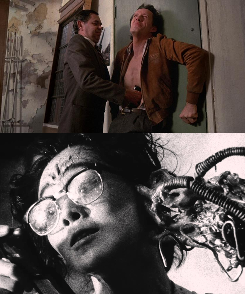 Figure 2: A videotape is inserted into the abdomen of Max in Videodrome (1983, above), while metal constructs burst through the skin in Tetsuo: The Iron Man (1989, below).