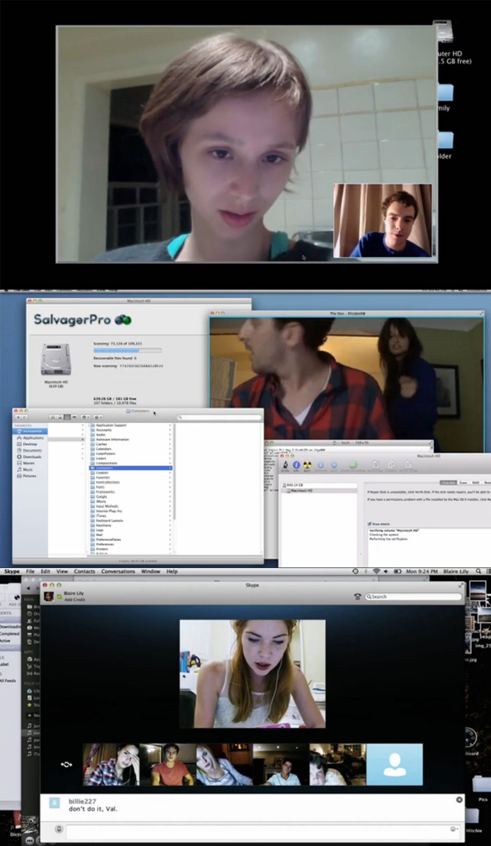 Figure 3: The evolution of representations of the computer screen in contemporary horror, as seen in The Sick Thing… (top), The Den (middle), and Unfriended (bottom).