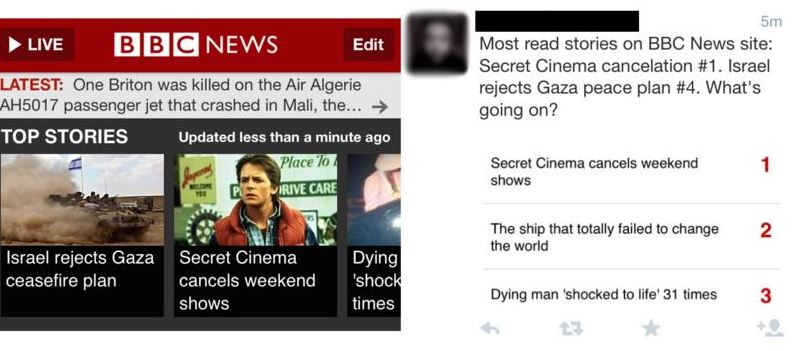 Figure 11: News hierarchy showing Secret Cinema debacle achieving a prominent position alongside serious world events.