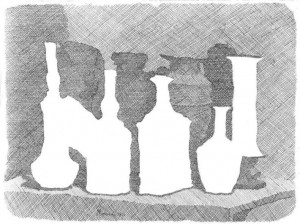 Still Life of Vases on a Table. Etching. Giorgio Morandi, 1931.
