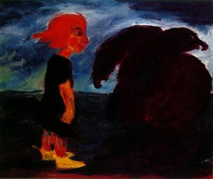 Child and large bird. Oil on canvas. Emil Nolde, 1912.
